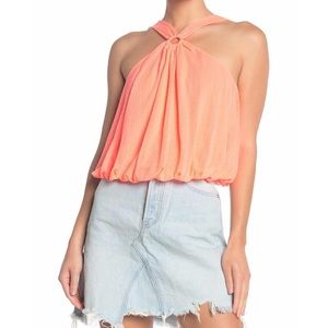 Free People coral halter tank top size Large NWT